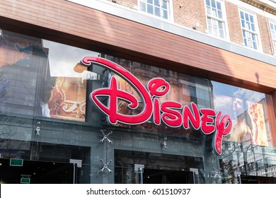London, England - 24 February 2017 : Exterior view of Disney Store on Oxford Street, London. With Beauty and the Beast Decoration, 2017 Live action starred Emma Watson.