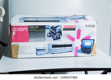 London, England, 24/10/2019 Retro ION Tape2pc Cassette tape recorder to transfer analog audio music files to digital and store on a computer and future proof data for the modern age. in packaging