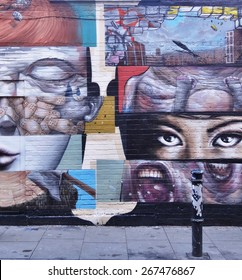 LONDON, ENGLAND -25 JAN 2013- Editorial: Painted walls and graffiti art are scattered in the Old Street, Brick Lane and Shoreditch area in East London in the heart of Banglatown.