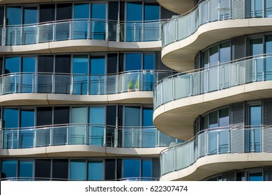 London, England -  25 March 2017 : Balconies of the modern riverside apartments in London, UK