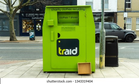 London, England - 26th March 2018. Traid Clothing and Shoe donation bank on St John's Hill, SW London