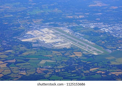 LONDON, ENGLAND -27 JUN 2018- Aerial view of the London Gatwick Airport (LGW), an international airport near Crawley, south of London.