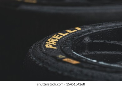 London, England, 28/10/19: close pictures of pirelli pzero tyres in a rain. Professional motorsports tyres made for good performance. Close, high in textures amd detail