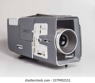 London, England, 29/11/19 Vintage retro chinon c-300 dual 8mm projector in immaculate condition shot on white background isolated shot professionally. For watching old movies or videos