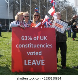 London England. 29th March 2019. Pro-Brexit supporters gather in central London for 'Leave Means Leave' rally on the day Britain was originally scheduled to leave EU on 29 March,