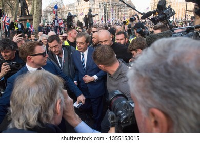 London England. 29th March 2019. Former UKIP leader Nigel Farage leaving after addressing the crowd, UK was originally scheduled to leave the European Union 29th March 2019