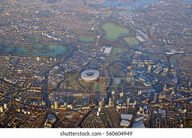 LONDON, ENGLAND -3 JAN 2017- Aerial view of the Greater London area near the Queen Elizabeth Olympic Park.