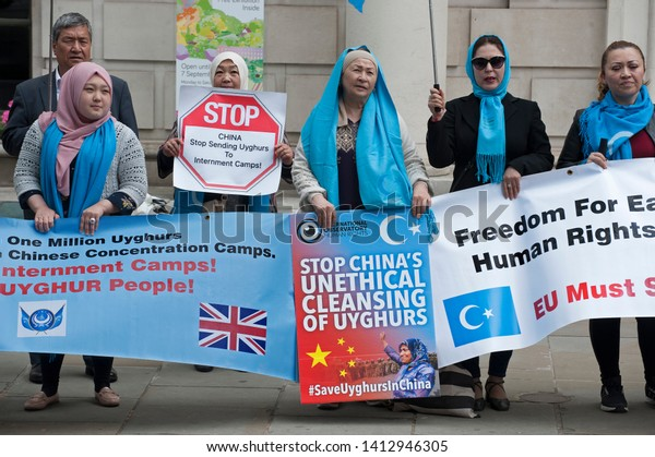 London, England. 31st May 2019. Uyghur Muslim Protest opposite Chinese Embassy. demo against the treatment of members of the mostly Muslim ethnic Uyghur minority in China's  Xinjian area.   Karl Nesh