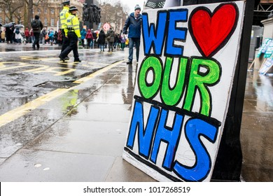 London, England. 3rd February 2018. EDITORIAL - One of the many posters & placards at the NHS In Crisis demonstration through central London, in protest of underfunding & privatisation of the NHS.
