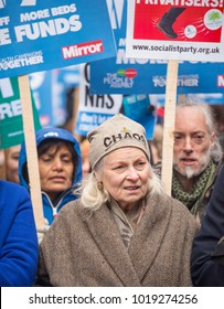 London, England. 3rd February 2018. EDITORIAL - Fashion designer Vivienne Westwood at the NHS In Crisis demonstration through central London, in protest of underfunding & privatisation of the NHS.