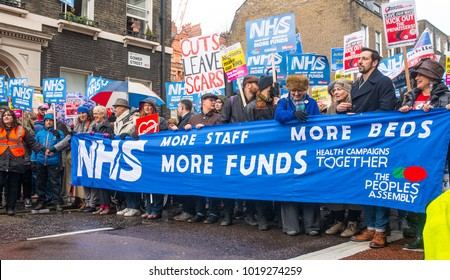 London, England. 3rd February 2018. EDITORIAL - Thousands gathered for the NHS In Crisis demonstration through central London, in protest of underfunding & privatisation of the NHS.