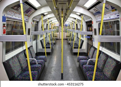 LONDON, ENGLAND - 4 JULY 2016: An empty train passenger carriage on the Lodon underground. The London Underground carried a record 1.3 billion passengers in the 2015 year. Editorial image.