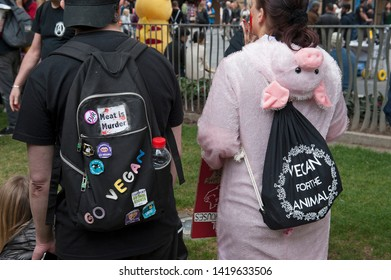 London, England. 8th June, 2019. Close All Slaughterhouses. Animal rights activists march through London chanting and handing out leaflets encouraging people to go vegan. © Karl Nesh