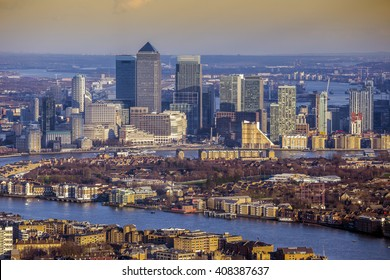 London, England - Aerial skyline view of the skyscrapers of Canary Wharf