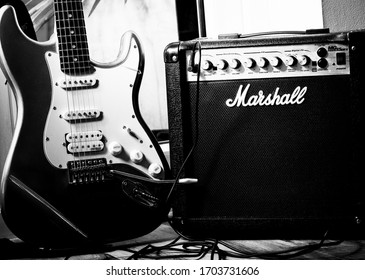 London, England - April 04, 2020: Electric Guitar and Marshall Amplifier, Marshall Amplification was founded by Jim Marshall in London around 1962.