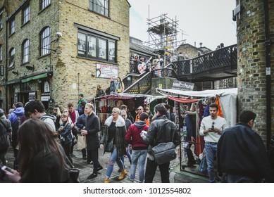 LONDON, ENGLAND - APRIL 07, 2017: Tourists walk the streets of London and enjoy the beauty of the city.