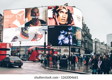 LONDON, ENGLAND - April 1, 2018: A view on the advertisement screens on Piccadilly