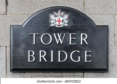 LONDON, ENGLAND - APRIL 10 2015: Tower bridge sign