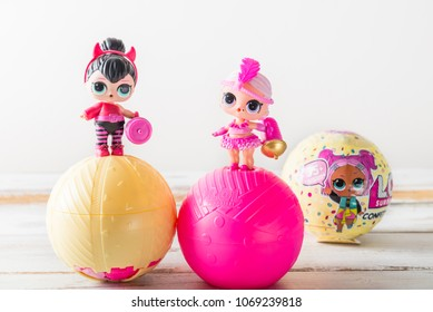 London, England - April 10, 2018: L.O.L. Surprise Dolls the most favourite dolls of 2017