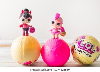 London, England - April 10, 2018: L.O.L. Surprise Dolls the most favourite dolls of 2017