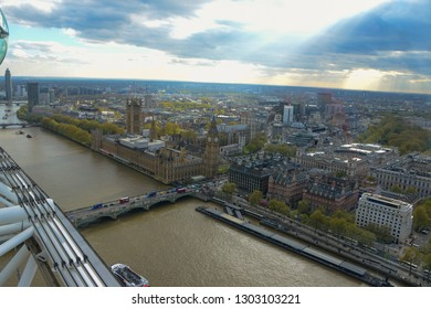 London, England - April 12, 2017: High view of Westminster Abbey, with the River Thames, the Wstminster Bridge, Big Ben and The Houses of Parliament
