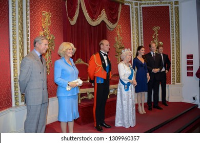LONDON, ENGLAND - APRIL 12, 2017: wax figures of the British Royal Family, in the Madame Tussauds Museum. A museum to enjoy with your family the many famous people