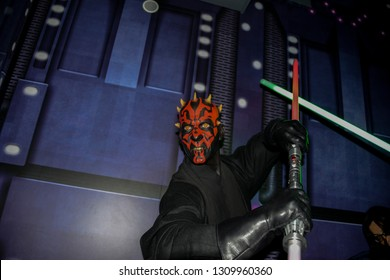 LONDON, ENGLAND - APRIL 12, 2017: wax figure of the character Darth Maul, who starred in the Star Wars movie, Episode One. A museum to enjoy with your family the many famous people.