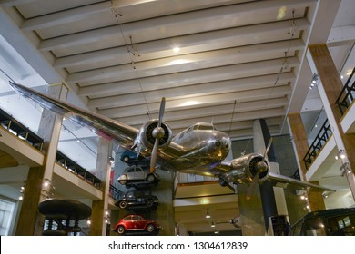 London, England - April 13, 2017: View of a twin-engine plane hanging from the ceiling at The Science Museum in South Kensington,  London, UK