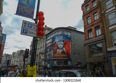 London, England - April 13, 2017: View of the poster of the musical Les Miserables, written by Victor Hugo and that can be seen at the Queen's Theater, located in the famous Soho neighborhood.