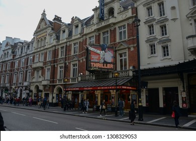London, England - April 13, 2017: Poster view of the musical Thriller Live,  based on the famous singer Michael Jackson and that can be seen at the Lyric Theater, located in the Soho neighborhood.