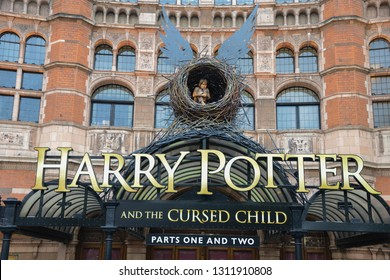 "London, England - April 13, 2017: Announcement at the Palace Theatre of the theatrical work ""Harry Potter  and the Cursed Child"" written by J. K. Rowling, Thorne and director John Tiffany."