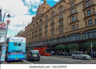 London, England - April 13, 2017: facade of the famous and department store Harrods, located in the district of Knightsbridge. Place affordable shopping and also luxury