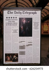 London, England - April 13, 2017: The Daily Telegraph announces in press the Harry Potter and the Cursed Child on Palace Theatre