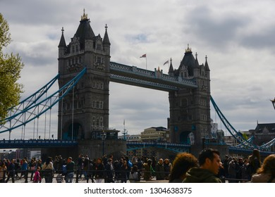 London, England - April 14, 2017: View of the Tower Bridge. Famous bridge that crosses the River Thames, and that reaches the fort The Tower of London