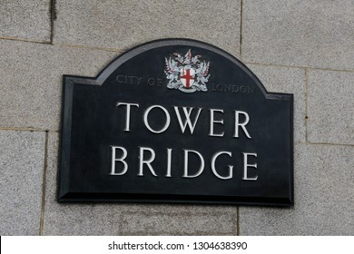 London, England - April 14, 2017: Signboard or poster of the famous bridge, which spans the River Thames, Tower Bridge in London
