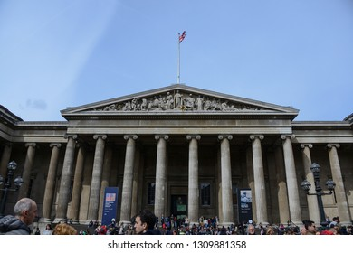 London, England - April 15, 2017: Parthenon-shaped main facade, of the famous British Museum in London