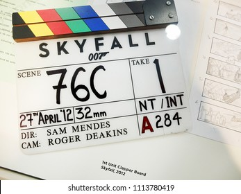 "London, England - April 18, 2014. A Clapperboard used at the ""James Bond : Skyfall"" filming, seen at a James Bond Exhibition."