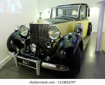"""London, England - April 18, 2014. A Rolls-Royce Phantom III car, which was used in James Bond """"Goldfinger"""" film in 1964, seen in an exhibition of James Bond cars in London."""