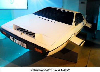 """London, England - April 18, 2014. A Lotus Esprit car, which was used in James Bond """"The Spy Who Loved Me"""" film in 1977, seen in an exhibition of James Bond cars in London."""