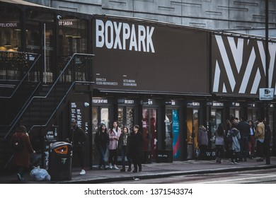 London / England - April 2019 - street view of BOXPARK in Shoreditch a place with pop-up shops