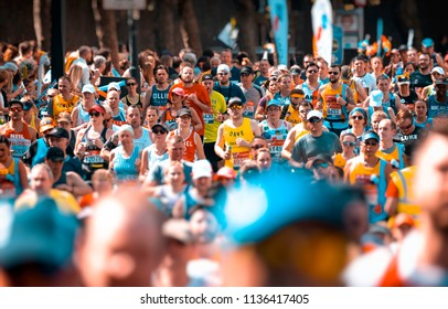 London, England - April 22, 2018: Runners taking part in the annual London Marathon, The first London Marathon was staged in 1981.