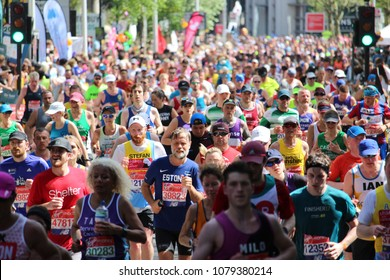 London, England, April 22nd 2018: Massed runners on the Isle of Dogs running in the 2018 London Marathon