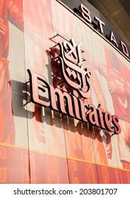 LONDON, ENGLAND - APRIL 22ND: Front facia of The Emirates Stadium, showing Emirates logo symbol, Arsenal Football Club  Hornsey Rd, London, N7 7AJ. England. 22ND April 2010.