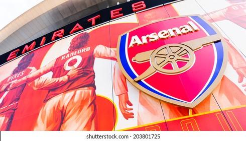 LONDON, ENGLAND - APRIL 22ND: Front facia of The Emirates Stadium, Arsenal Football Club. Hornsey Rd, London, N7 7AJ. England. 22ND April 2010.