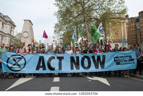London, England. April 23rd, 2019. Extinction Rebellion demonstration in Parliament Square, London.