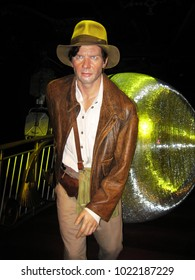 London, England - April 24, 2008. A wax figure of Harrison Ford as Indiana Jones, inside the Madame Tussauds wax museum.