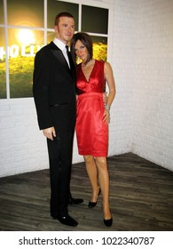 London, England - April 24, 2008. David Beckham and Victoria Beckham wax figures inside the Madame Tussaud wax museum.