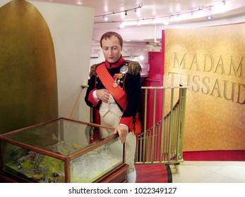 London, England - April 24, 2008. Napoleon Bonaparte wax figure inside the Madame Tussaud wax museum.