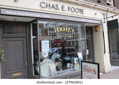 London, England, April 24th 2019: Chas E Foote music shop in Store Street, Bloomsbury in London
