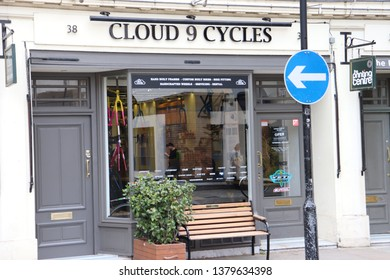 London, England, April 24th 2019: Cloud 9 Cycles in Store Street, Bloomsbury in London
